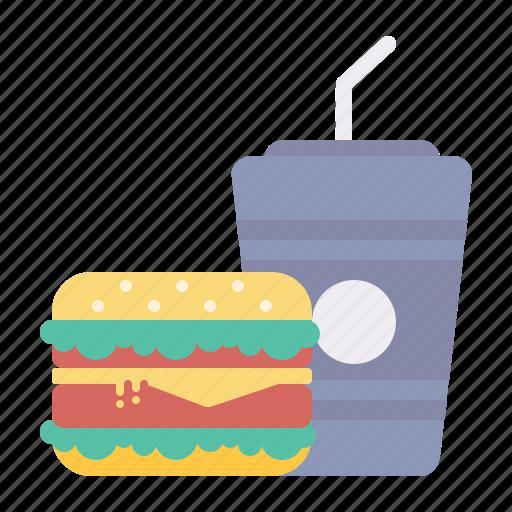 burger, coffee, cold, cup, drinks, food, mug icon