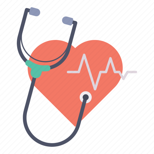 care, checkup, heart, heartbeat, medical, pulse, stethoscope icon