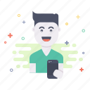 avatar, boy, device, fun, happy, smile icon