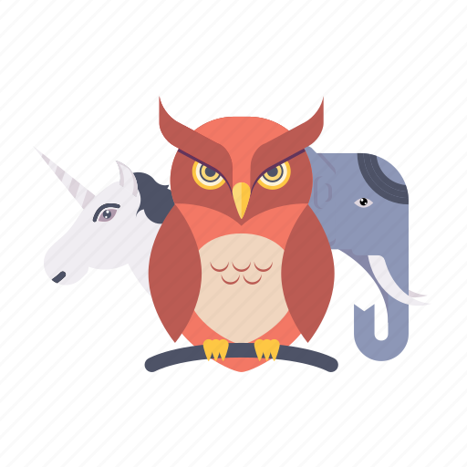 animal, elephant, horse, nture, owl, wildlife icon