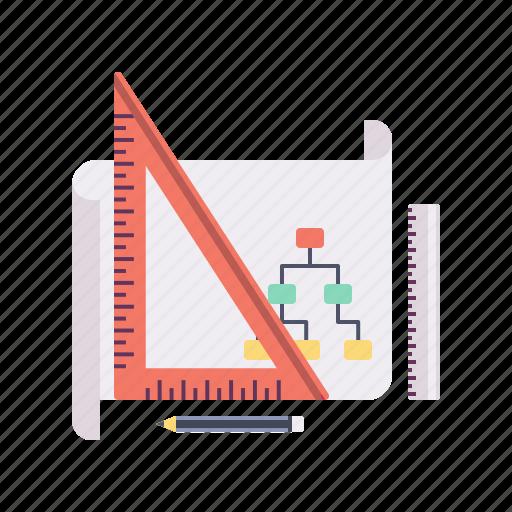 algorithm, architect, flowchart, pencile, project, report, scale icon
