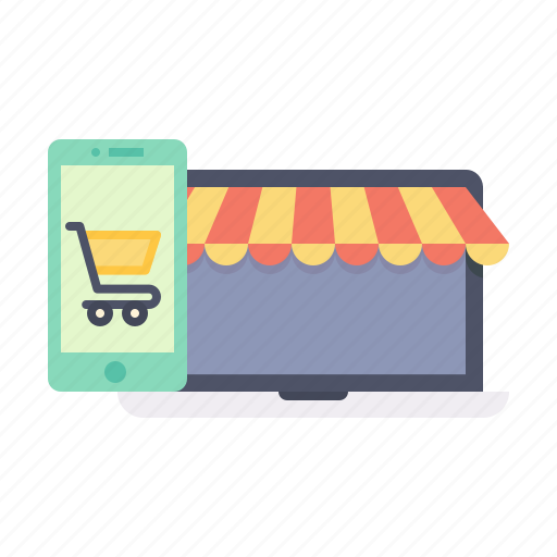 cart, ecommerce, laptop, mobile, online, shooping, store icon