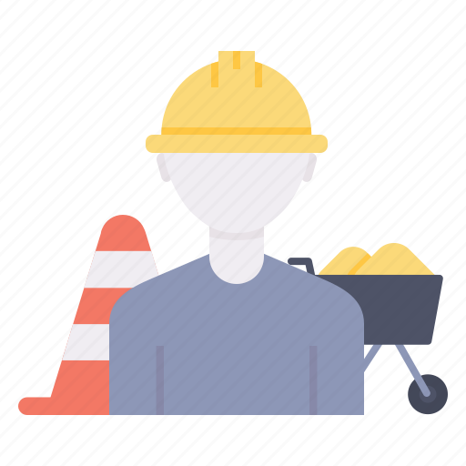 bloacker, buggy, construction, engineer, trolley, wheel, worker icon