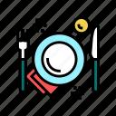 plate, fork, knife, utensil, food, service