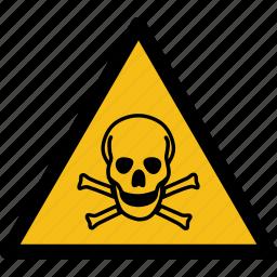 alarm, caution, danger, death, error, schedule, skull icon