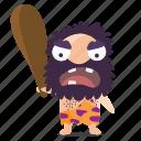angry, cave, emoji, emoticon, man, sticker icon