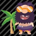 beach, cave, emoji, emoticon, man, sticker icon