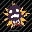 cave, electricution, emoji, emoticon, man, sticker icon