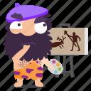 cave, emoji, emoticon, man, painting, sticker icon