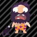 cave, emoji, emoticon, man, scared, sticker icon