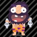 cave, emoji, emoticon, man, skulls, sticker icon