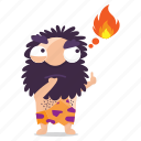 cave, emoji, emoticon, fire, man, sticker, thinking