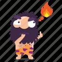 cave, emoji, emoticon, fire, man, sticker, thinking