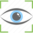 eye focus, eye tracking, monitoring, scanning, target symbol icon