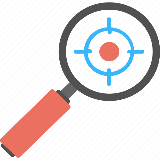 identification, investigation, magnifier, search, target icon