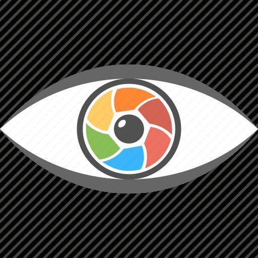 camera lens, camera shutter, eye as camera, focus, monitoring icon