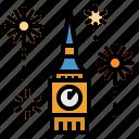 celebration, clock, firework, newyear, tower