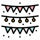 birthday, decoration, flags, garlands, party