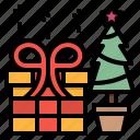 box, gift, pine, present, tree