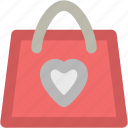 heart bag, paper bag, shopper bag, shopping bag, supermarket bag, tote bag, valentine shopping icon