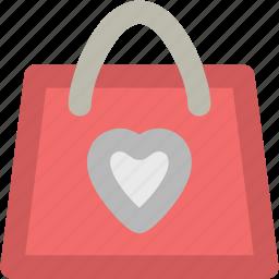 heart bag, paper bag, shopper bag, shopping bag, supermarket bag, tote bag, valentine shopping icon