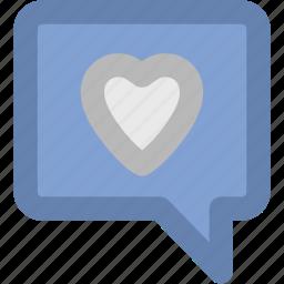 compassion, heart sign, love chat, romantic conversation, speech bubble icon