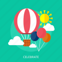 air balloon, balloon, celebrate, cloud, sun icon