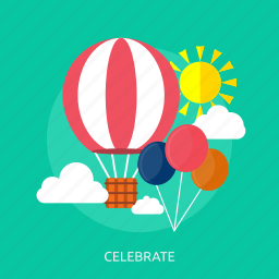 air balloon, balloon, celebrate, cloud, sun icon