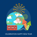 celebration, earth, fireworks, happy new year, time icon