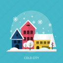 city, cold, house, ice, snow, tree, winter icon