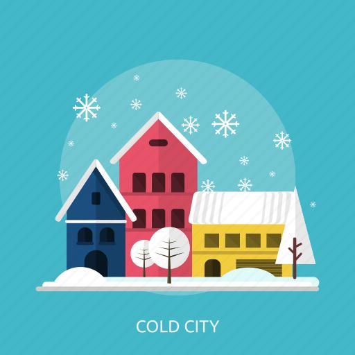 city, cold, house, ice, snow, tree, winter icon