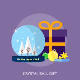 ball, crystal ball, gift, happy new year, snow, star, tree icon