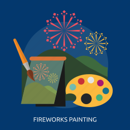 art, color, fireworks, mountain, painting icon
