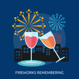 city, fireworks remembering, glass, juice, party icon