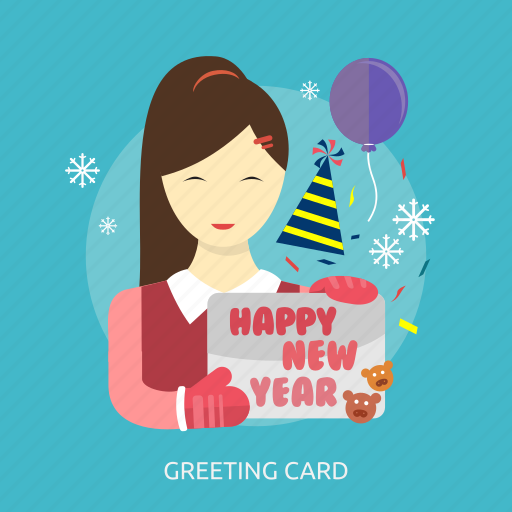 balloon, greeting card, happy new year, holiday, party, snow, women icon