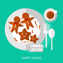 cakes, cup, gingerbread, happy new year, plate, spoon icon