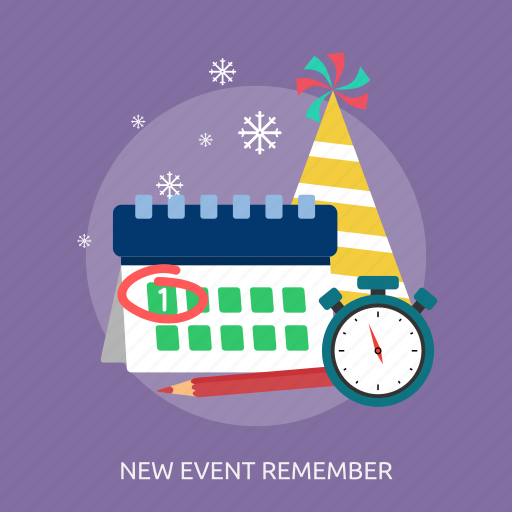 calendar, new event remember, party, pencil, snow, time icon