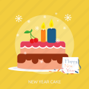 candle, happy new year, new year cake, party, snow, winter icon