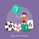ball, game, man, new year change, number icon