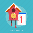 happy new year, ice, new year clock, snow, time, winter icon