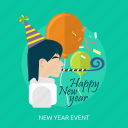 balloon, happy new year, human, new year event, party, party hat icon