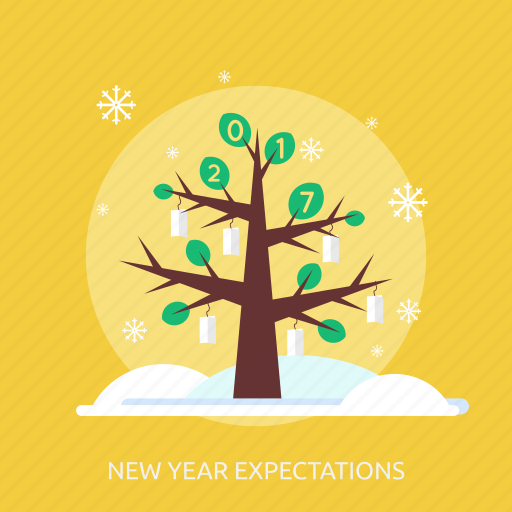 cold, happy new year, ice, new year expectations, snow, tree, winter icon