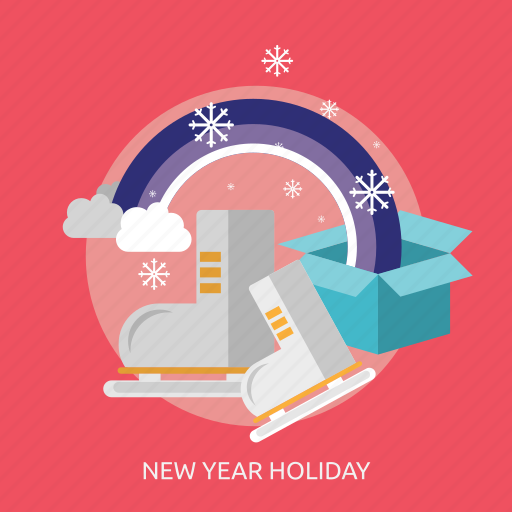 box, gift, ice, new year holiday, shoes, snow, winter icon