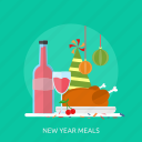 cherry, drink, food, new year meals, party, roast chicken icon