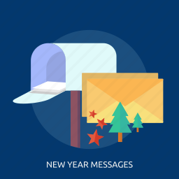 happy new year, new year messages, star, tree icon