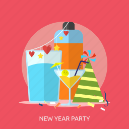 drink, happy new year, heart, new year party, party hat, star icon