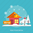 happy new year, house, ice, new year snow, tree, winter icon