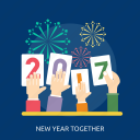fireworks, hand, happy new year, new year together, number icon