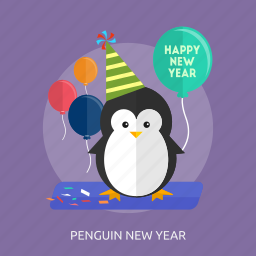balloon, happy new year, party, party hat, penguin new year icon