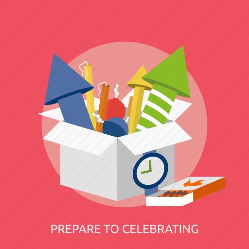 fireworks, lighter, prepare to celebrating, time icon
